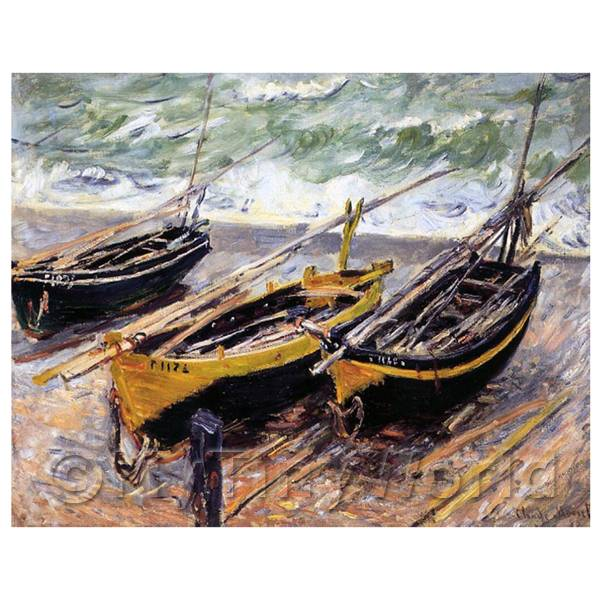 Claude Monet Painting 3 Fishing Boats