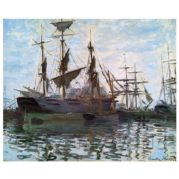 Claude Monet Painting Ships In Harbor