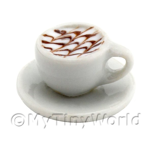 Dolls House Miniature  | Dolls House Miniature Cappaccino With Chocolate Design