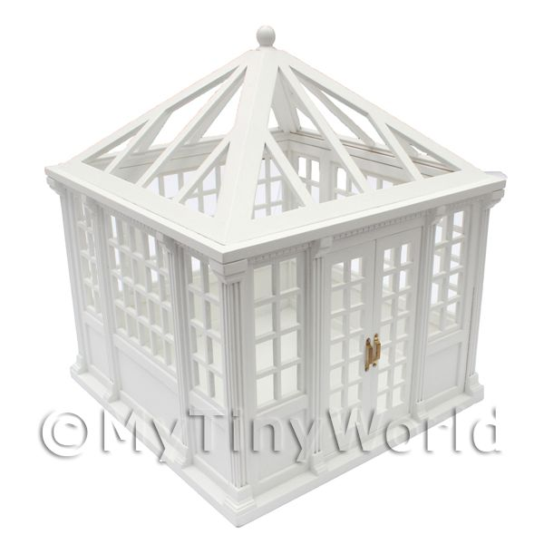 Dolls House Miniature  | Dolls House Miniature White Painted Wood Greenhouse / Conservatory