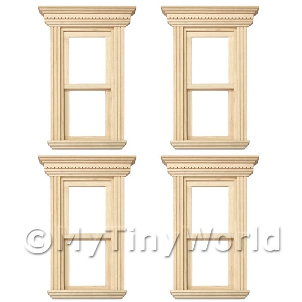 4 x Dolls House Miniature Opening Single Sash Wood Windows