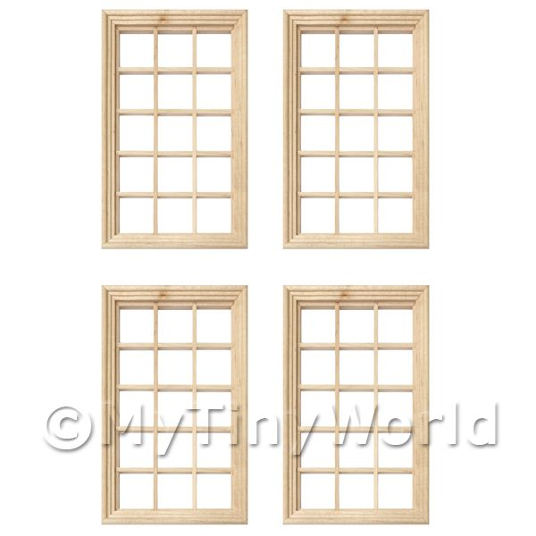 Dolls House Miniature  | 4 x Dolls House Miniature 15 Pane Georgian Windows And Glazing