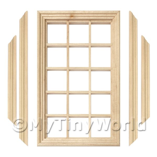 Dolls House Miniature 15 Pane Georgian Window, Frame And Glazing