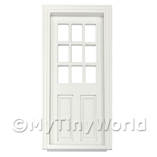 Dolls House Miniature White Painted 9 Panel Glazed Wood Door
