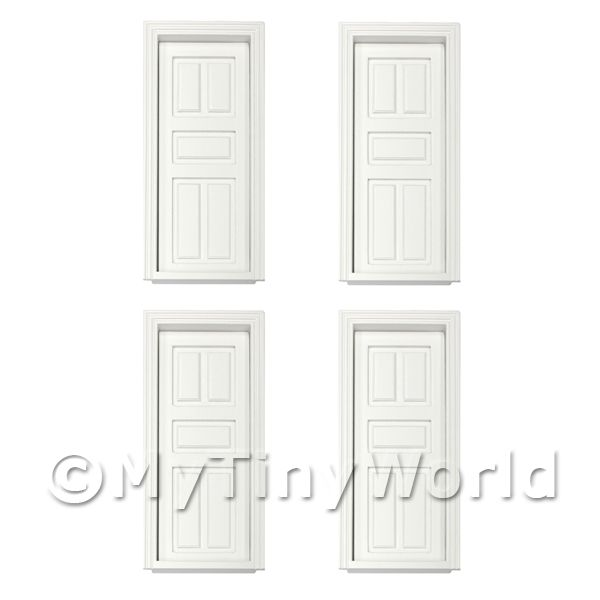 4 x Dolls House Miniature White Painted 5 Panel Wood Doors