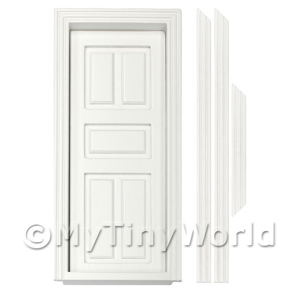 1/12 Scale Dolls House Miniatures  | Dolls House Miniature Internal White Painted 5 Panel Wood Door