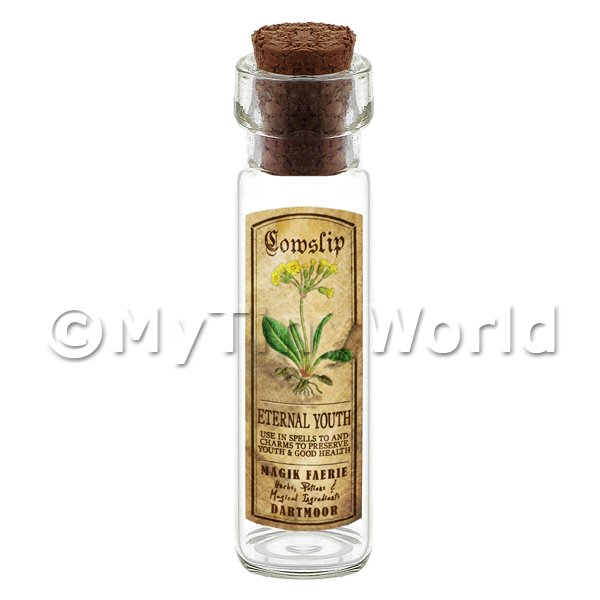 Dolls House Apothecary Cowslip Herb Long Colour Label And Bottle