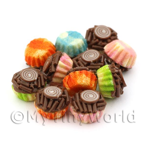Miniature Chocolate Sprinkle Cupcake With Mixed Colour Paper Cups