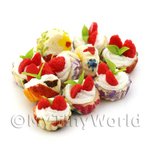 Miniature Strawberry And Cream Cupcake With Mixed Colour Paper Cups