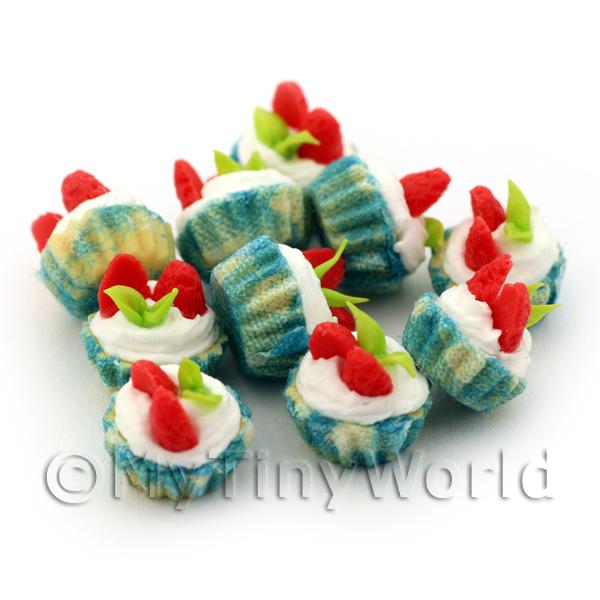 Miniature Strawberry And Cream Cupcake With A Blue Colour Paper Cup