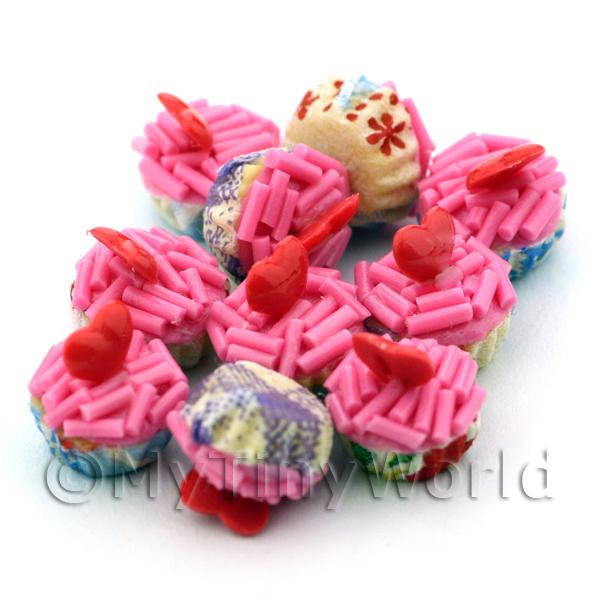 Miniature Pink Sprinkle With Red Heart Cupcake With Mixed Colour Paper Cups