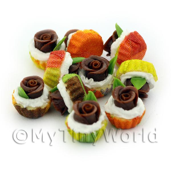 Miniature Chocolate Fondant Rose Cupcake With Mixed Colour Paper Cups