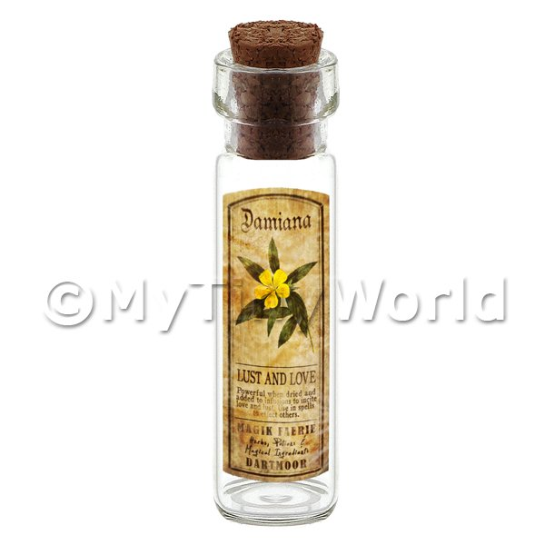 Dolls House Apothecary Damiana Herb Long Colour Label And Bottle