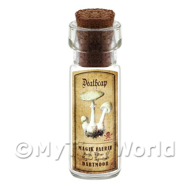 Dolls House Apothecary Deathcap Fungi Bottle And Colour Label