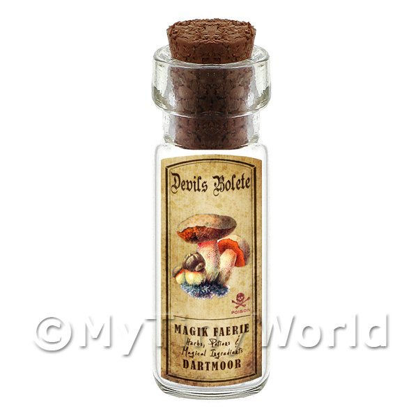 Dolls House Apothecary Devils Bolete Fungi Bottle And Colour Label