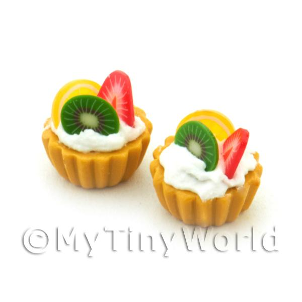 Dolls House Miniature Kiwi, Strawberry And Lemon Tart
