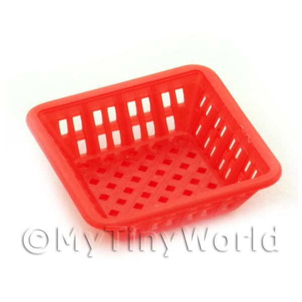 Large Dark Red Dolls House Miniature Square Plastic Basket