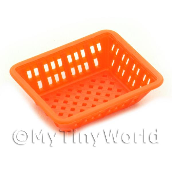 Dolls House Miniature  | Medium Orange Dolls House Miniature Square Plastic Basket
