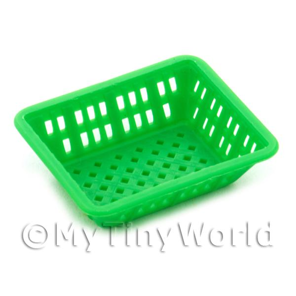 Large Green Dolls House Miniature Retangular Plastic Basket