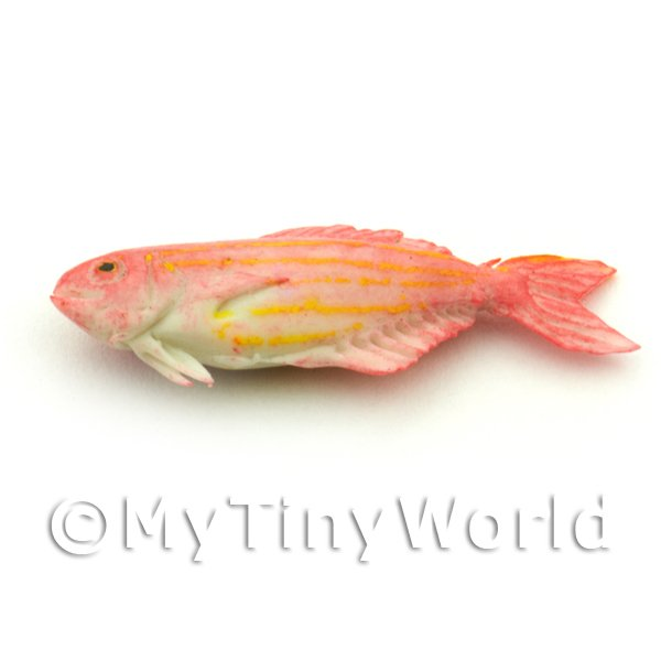 Dolls House Miniature Pink Fish With Orange Stripes