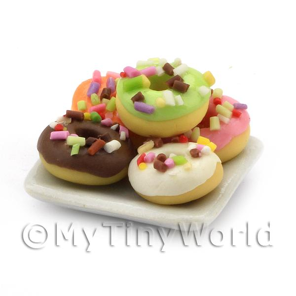 Dolls House Miniature  | Dolls House Miniature 5 Iced Ring Donuts With Sprinkles
