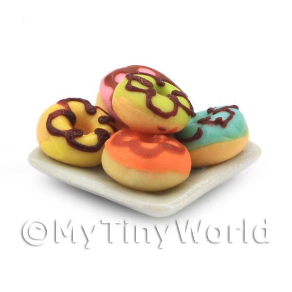 Dolls House Miniature - Miniature 5 Ring Donuts With Icing