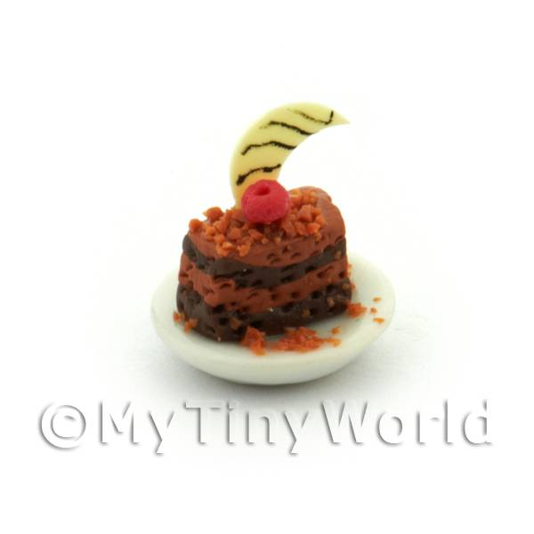 Dolls House Miniature Chocolate Layer Cake With a Cherry