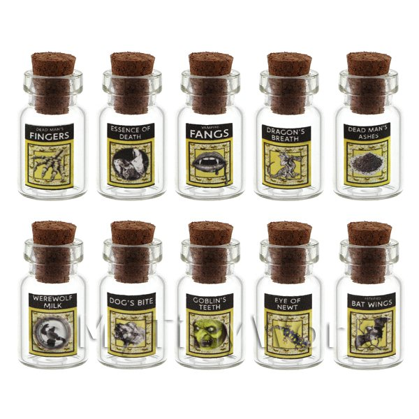 Set of 8 Glass Magic Witches Jars Set 3/7