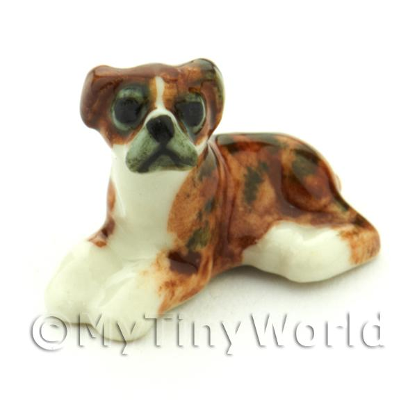 Dolls House Miniature  | Dolls House Miniature Ceramic Brindle Boxer Dog