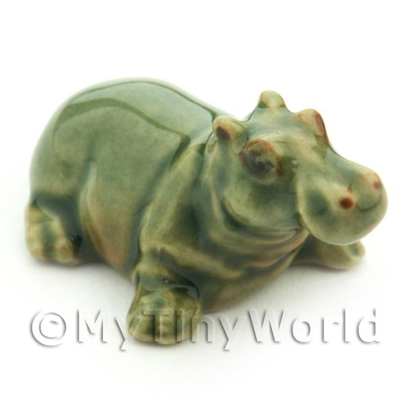 Handmade Dolls House Miniature Ceramic Hippo