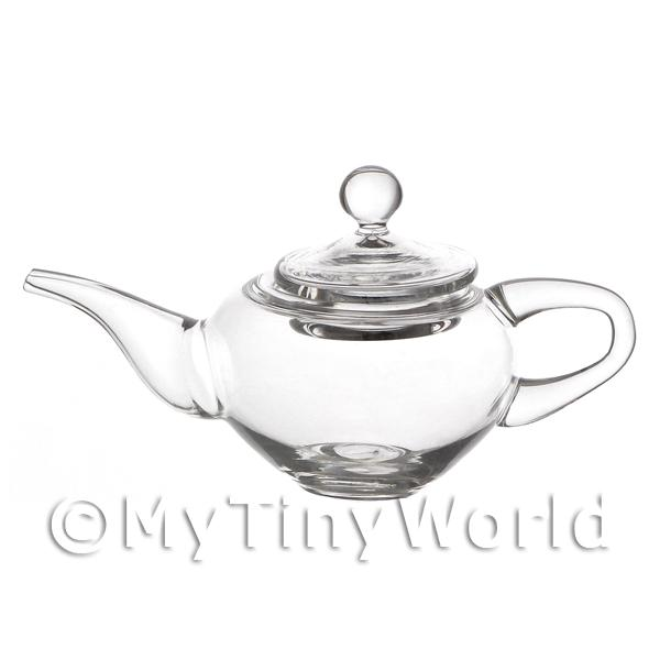 1/12 Scale Dolls House Miniatures  | Delicate Clear Dolls House Miniature Handmade Glass Teapot With Lid