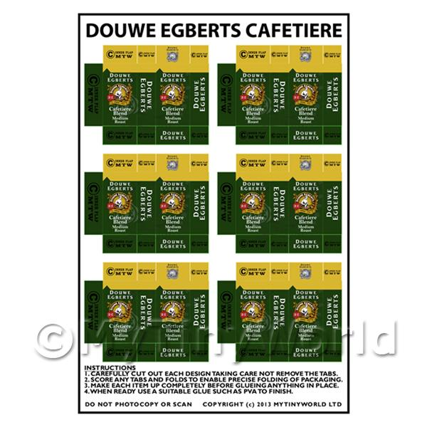 Dolls House Miniature Packaging Sheet of 6 Douwe Egberts Coffee
