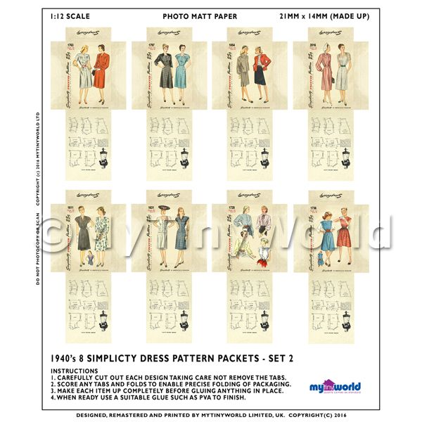 8 Miniature DIY Simplicity Dress Pattern Packets (DPDS02)