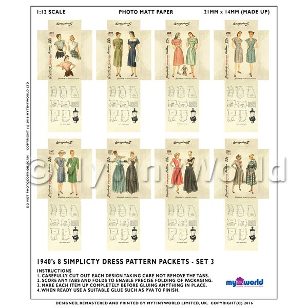 8 Miniature DIY Simplicity Dress Pattern Packets (DPDS03)