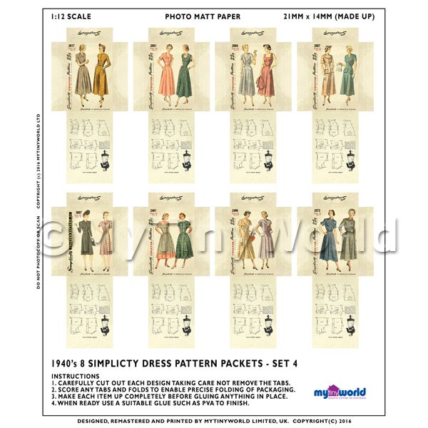 8 Miniature DIY Simplicity Dress Pattern Packets (DPDS04)