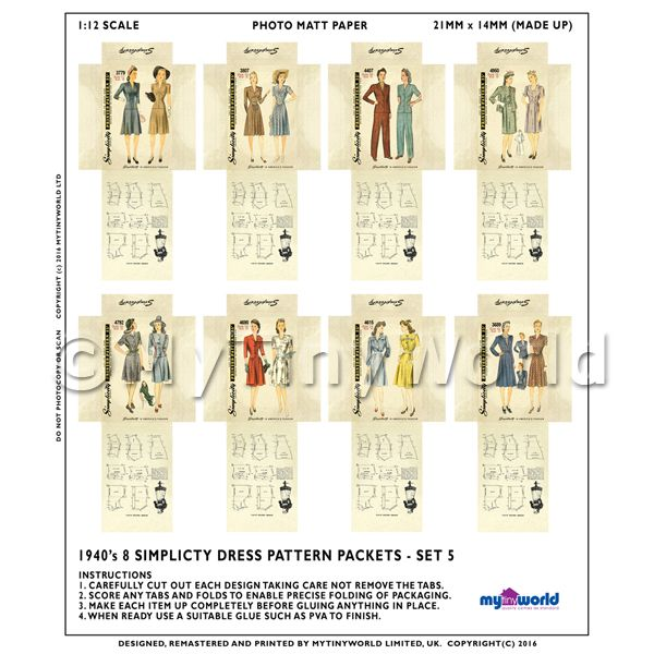 8 Miniature DIY Simplicity Dress Pattern Packets (DPDS05)