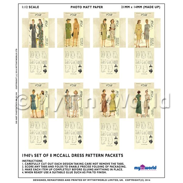 Dolls House Miniature  | 8 Miniature DIY McCall Dress Pattern Packets (DPDS07)