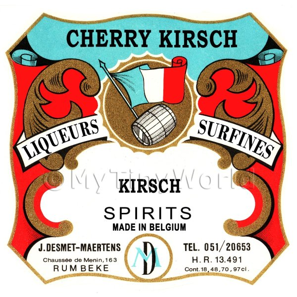 Cherry Kirsch Miniature Dolls House Liqueur Label