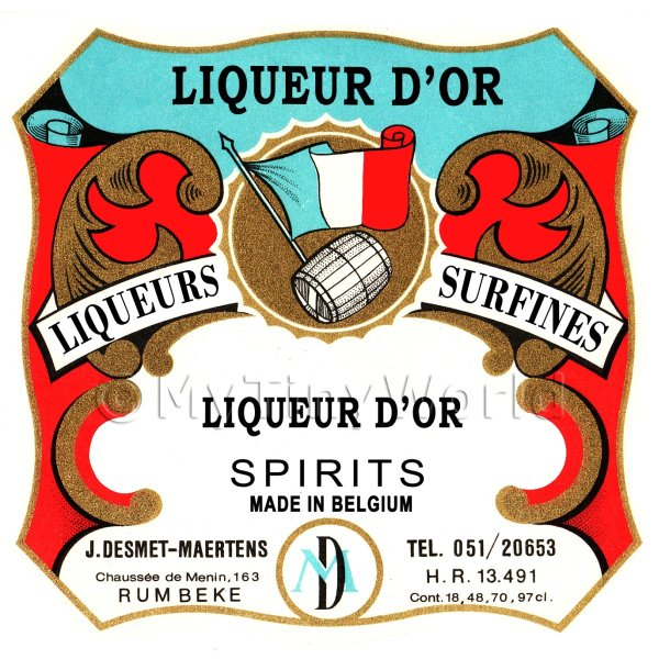 Liqueur Dor Miniature Dolls House Liqueur Label
