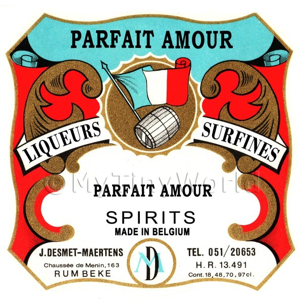 Parfait Amour Miniature Dolls House Liqueur Label