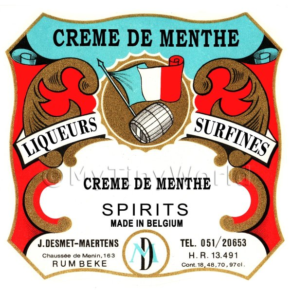 Creme De Menthe Miniature Dolls House Liqueur Label