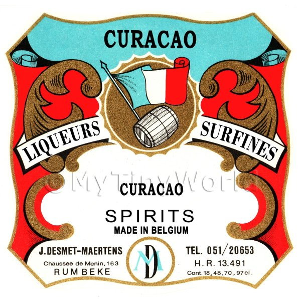 Curacao Miniature Dolls House Liqueur Label