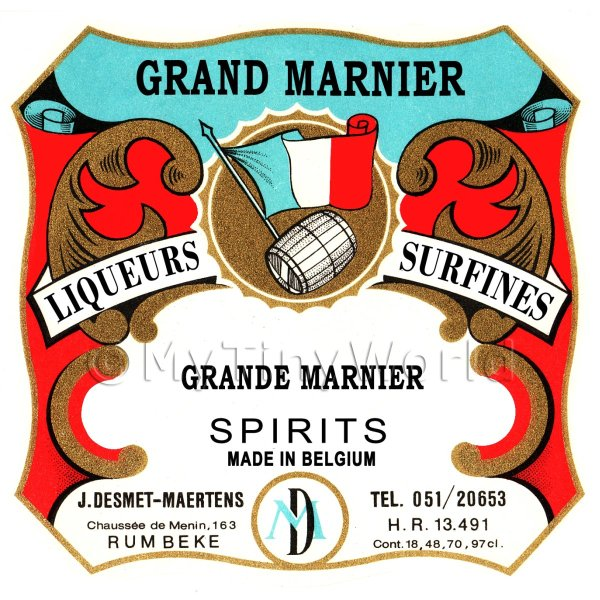 Grand Marnier Miniature Dolls House Liqueur Label
