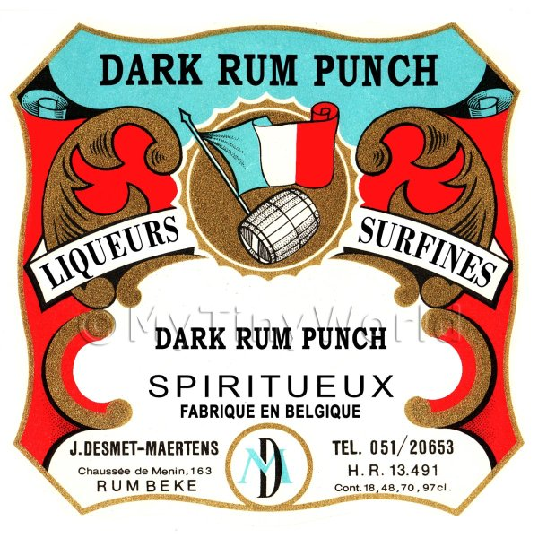Dark Rum Punch Miniature Dolls House Liqueur Label