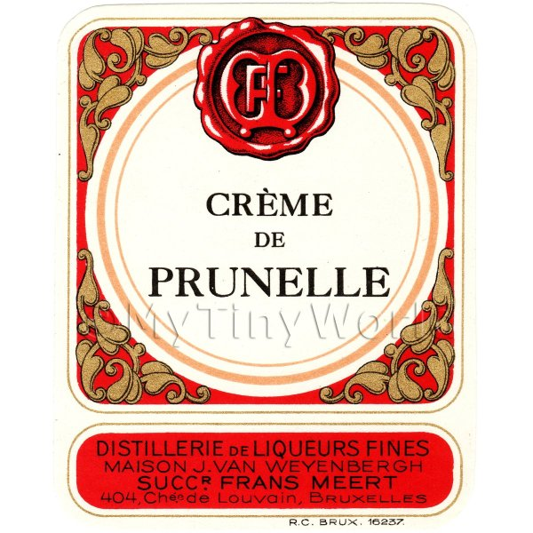Creme De Prunelle Miniature Dolls House Liqueur Label