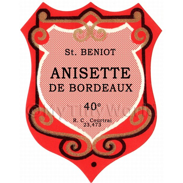 Benoit Anisette De Bordeaux Miniature Dolls House Liqueur Label