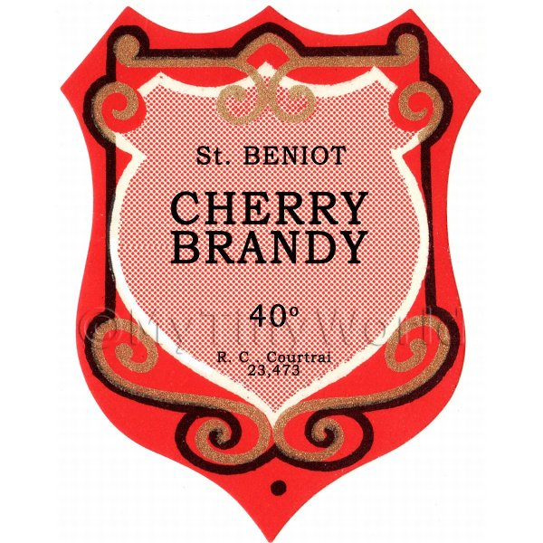 Benoit Cherry Brandy Miniature Dolls House Liqueur Label