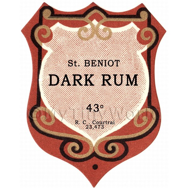 Benoit Dark Rum Miniature Dolls House Liqueur Label
