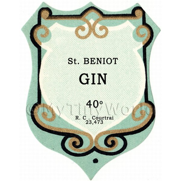 Dolls House Miniature  | Benoit Gin Miniature Dolls House Liqueur Label