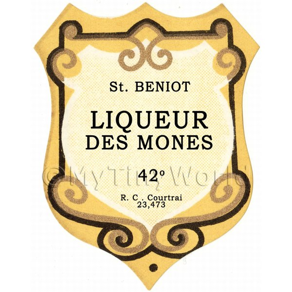 Benoit Liqueur Des Mones Miniature Dolls House Liqueur Label